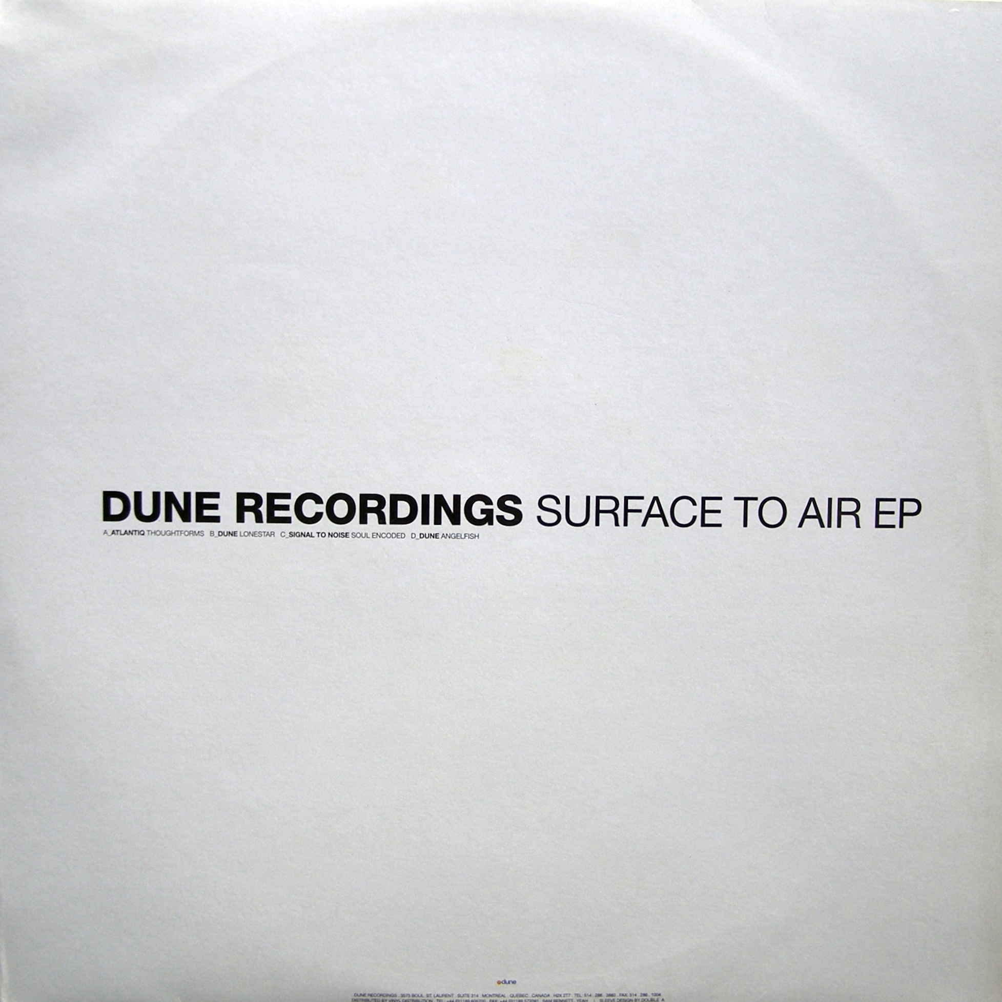 "2x12"" Various ‎– Surface To Air EP"