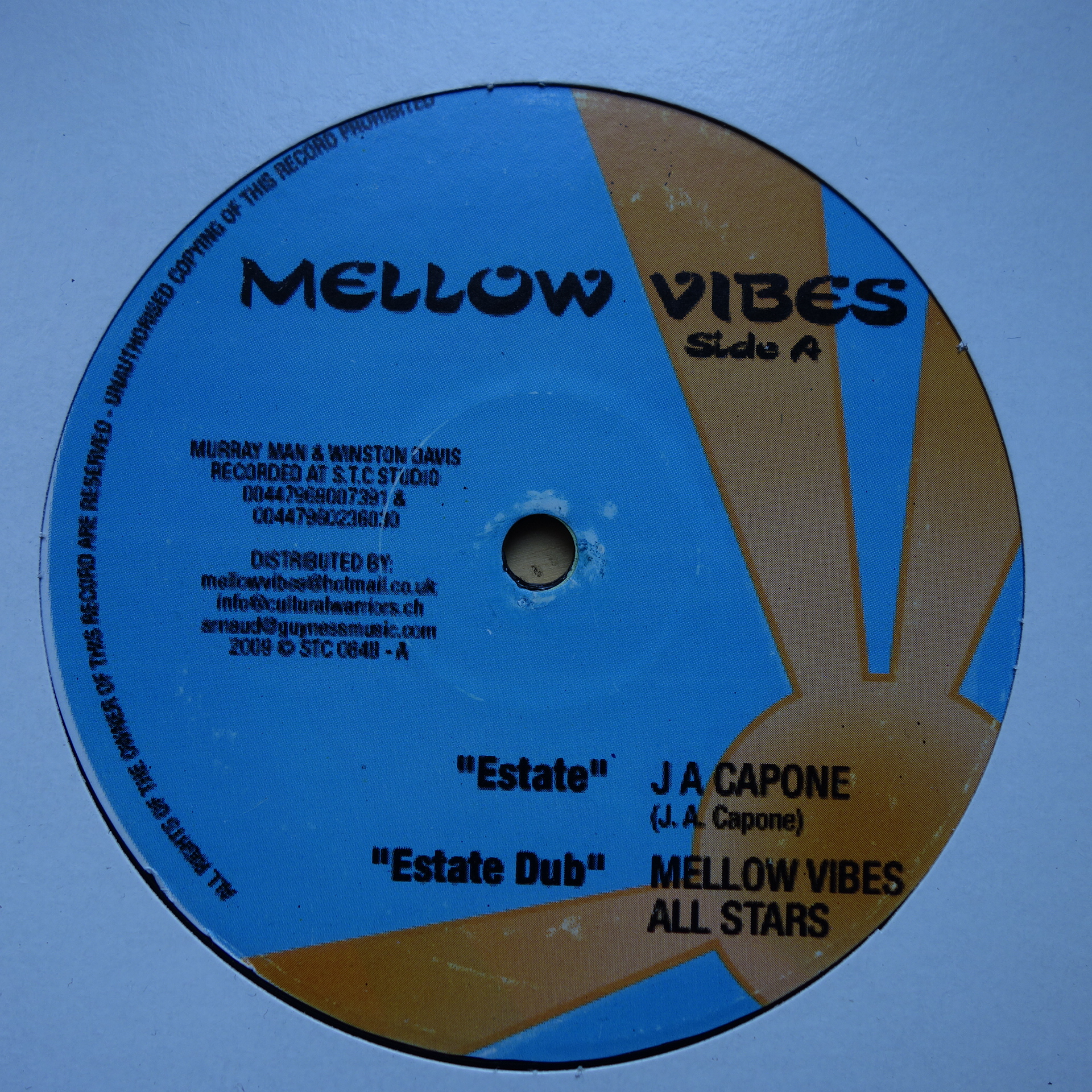 "12"" J A Capone / Mellow Vibes All Stars ‎– Estate / My Yard"