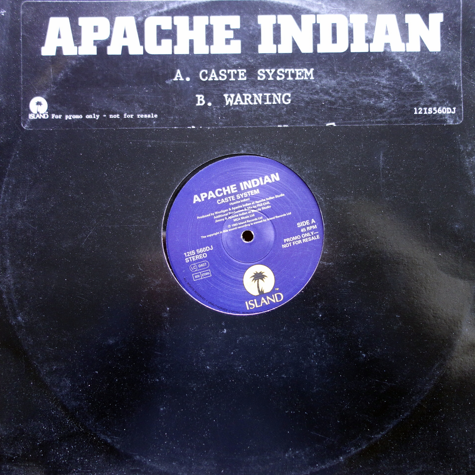 "12"" Apache Indian ‎– Caste Sytem / Warning"