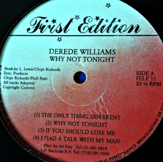 LP Derede Williams ‎– Why Not Tonight